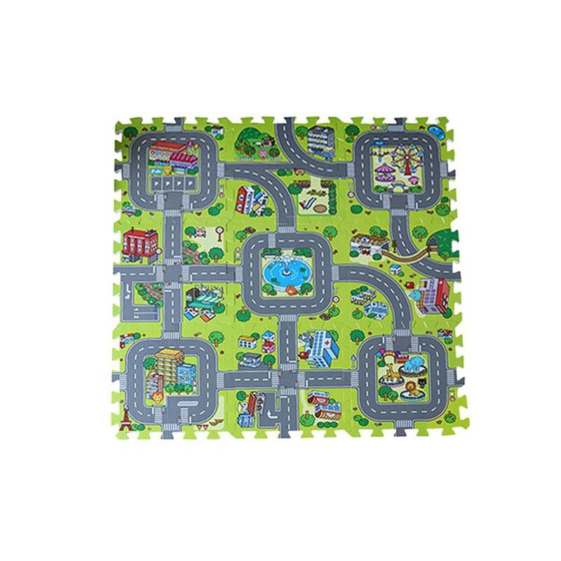9pcs Baby EVA Foam Puzzle Play Floor Mat Toddler Traffic Route City Road Interlocking Tiles Ground Pad