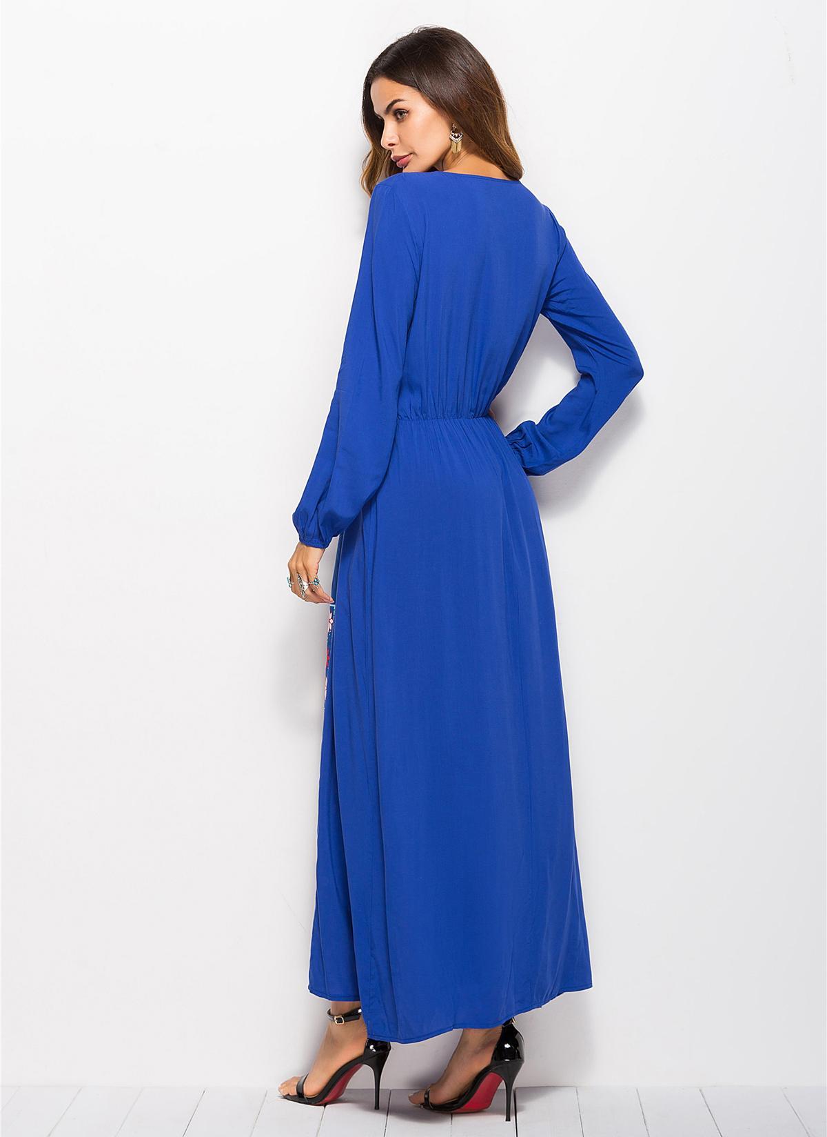 Image 5 - Stylish Muslim Abaya Print Maxi Dress Long Sleeve Long Dress  Ethnic Kimono Dresses Ramadan Middle East Arabic Islamic  ClothingIslamic Clothing