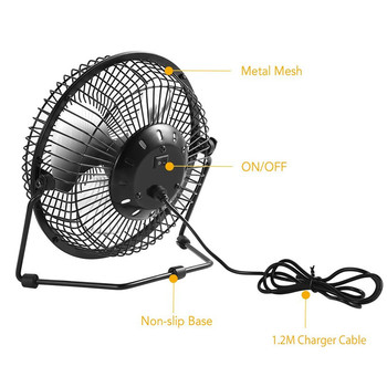 High Quality 4 Inch Cooling Ventilation Fan USB Solar Powered Panel Iron Fan For Home Office Outdoor Traveling Fishing 6