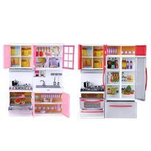 Делюкс Мини Дети кухня ролевые игры набор для приготовления пищи детские головоломки куклы Моделирование кухонная посуда шкаф Ранние развивающие игрушки