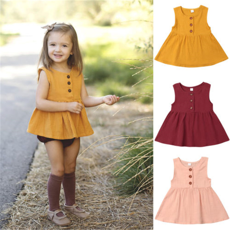 New toddler girls cotton sleeveless dress Burgundy or Brown 3-24 month