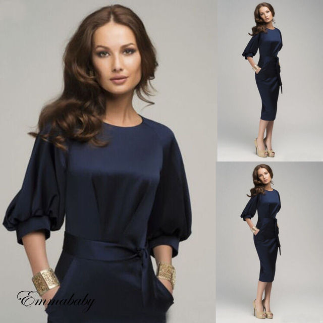 Hot Sale Women Formal Work Career Bodycon Pencil Dress Half Sleeve Blue Wear Bussiness Dress