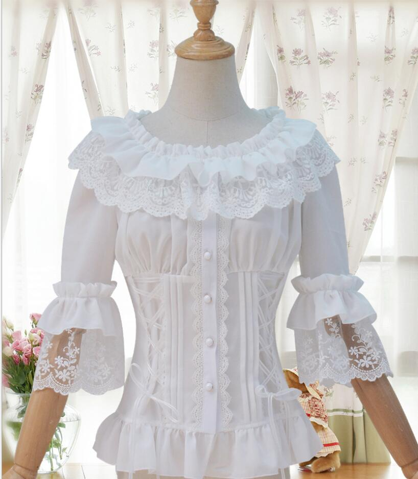Party 2019 Top Sweet Lace Sleeve Lolita Flare Fashion Shirt Laced zpq7zrAw