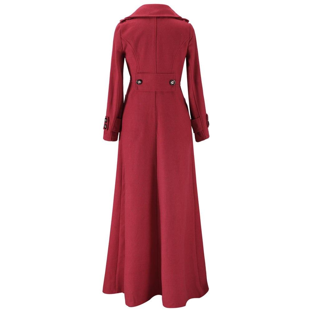Femme Vestes Mode Haute Chaud Laine Taille Solide Wine red Green Kenancy Manteau Vintage D'hiver Vêtements Slim dark Black Femmes Manteaux Couleur Long De blue qx7nw8aEA