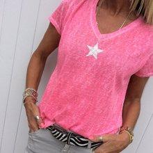 3XL 4XL 5XL Plus Size Women's V-neck Knit T-shirt  Star Print Tshirt 2019 Summer Casual Women Short-Sleeved Thin T shirt Tops недорого