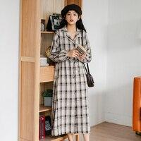 New Vintage Women dress Plaid Long Dresses Khaki 1265