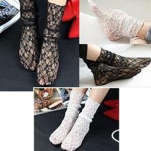 Модные Винтажные кружевные тонкие прозрачные носки с оборками; Модные женские носки длиной по щиколотку; Цвет черный, белый; ретро