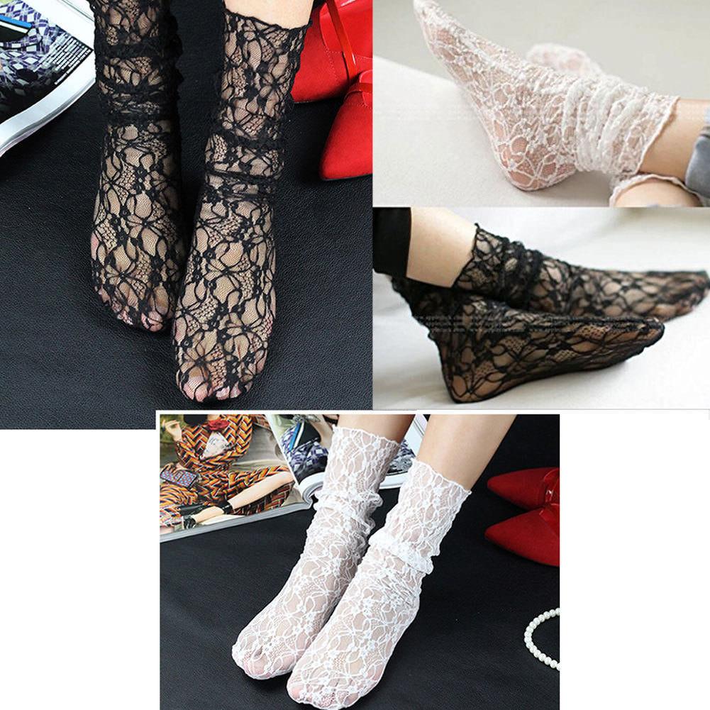 Vintage Lace Ruffle Frilly Ankle Socks Fashion Ladies Princes Black White Retro