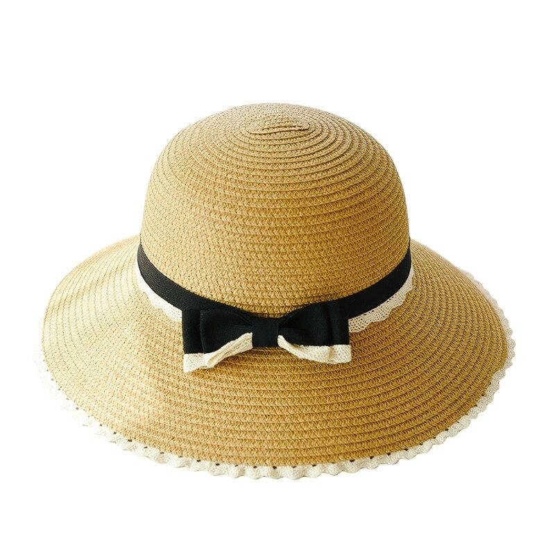 2018 HEIßER mode frau sommer hüte weibliche stroh hut casual mom-kid breite krempe strand hut Nette bowknot sonne hüte