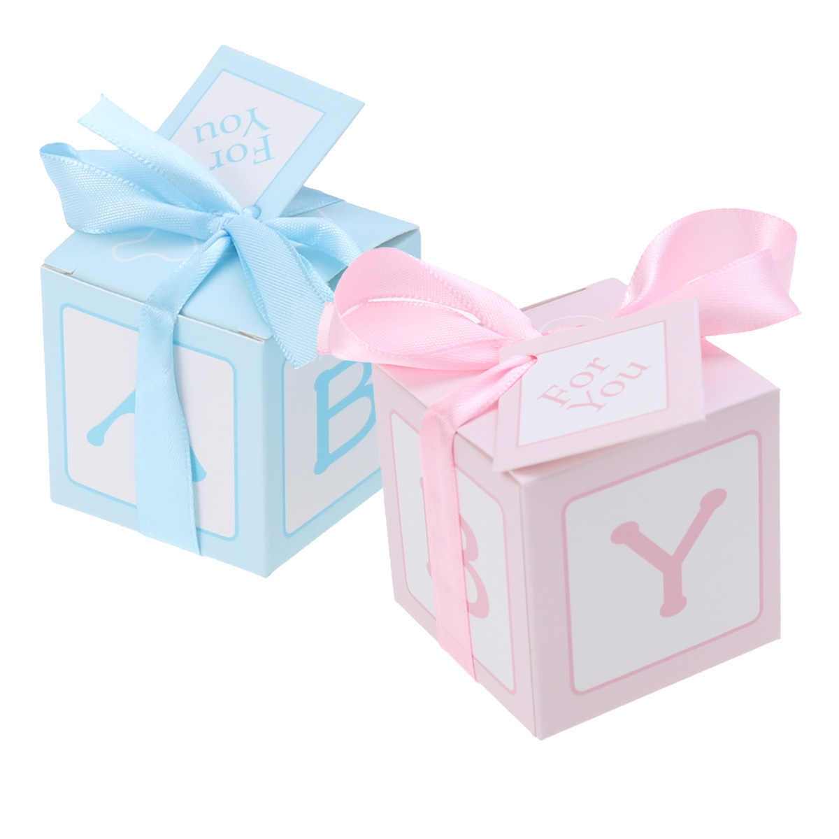 12pcs Creative Baby Shower Stitched Ribbon Wedding Printed Cards Treat Boxes Candy Boxes for Baby Shower Party Favors