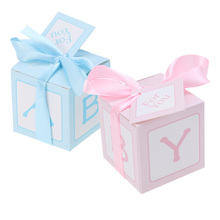 12pcs Creative Baby Shower Stitched Ribbon Printed Cards Treat Boxes Candy Boxes Sweet Bag Baptism Container Baby Shower Party