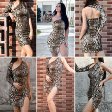 Brand Dress Snakeskin Vestidos 2019 New Style Sexy Women Summer Backless Snake Print Party Evening Clubwear Short Mini Dress
