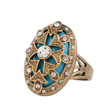 Trend Carved Ethnic Big Flower Ring Female Silver Micro-inlay Rhinestone Hollow Multicolor Knuckle Ring Anillo hollow out rhinestone ring