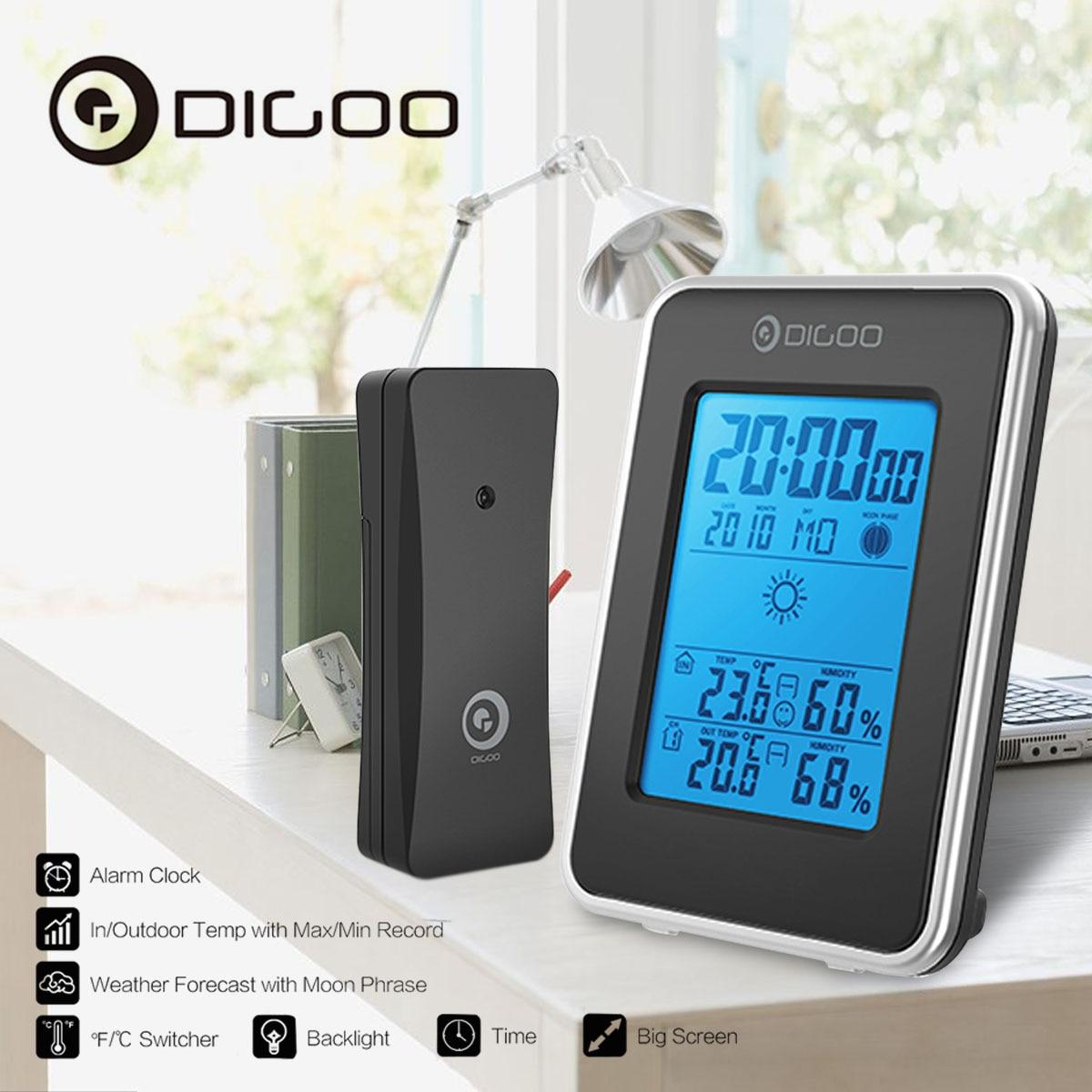 Digoo DG-TH1981 Estação Meteorológica Previsão Azul Backlit LCD Digital Higrômetro Termômetro Ao Ar Livre Relógio Do Sensor