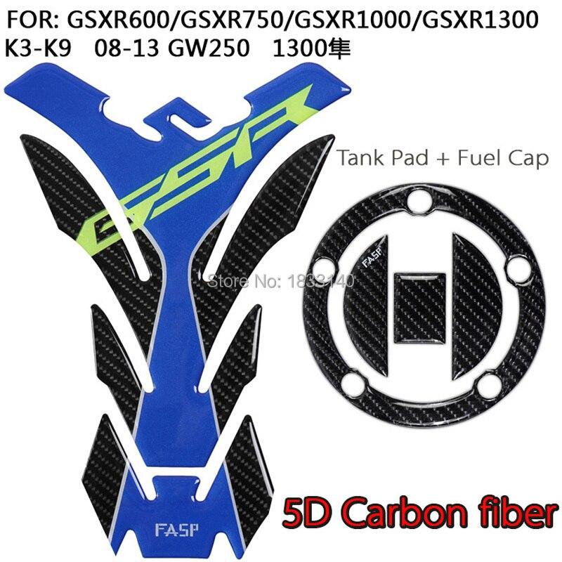 Real Carbon Fiber Tank Protector Pad +Gas Cap Sticker Fits Suzuki GSX-R600 GSXR 750