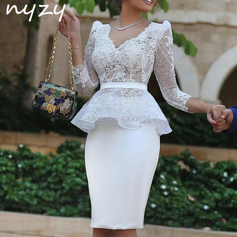 White Party Dress Cocktail 2019 Lace V Neck 3/4 Sleeves Formal Dress Women Elegant Graduation Homecoming NYZY C53
