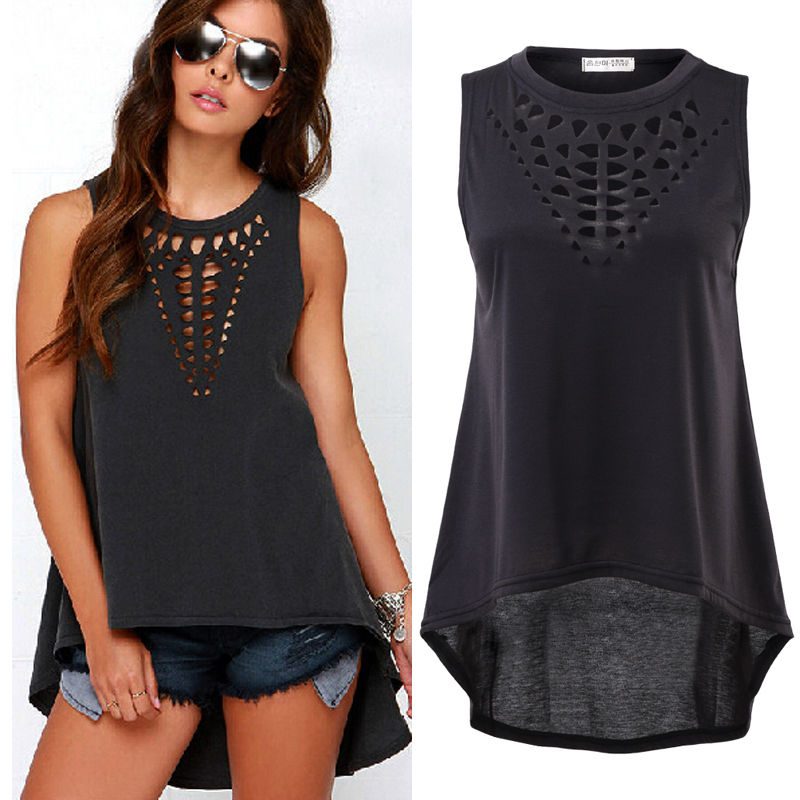 HOT Sale Women Retro Sexy Casual Hollow Sleeveless Loose Summer   T     Shirt   Top