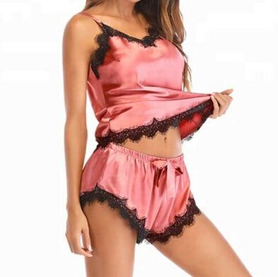 2Pcs Plus Size Women's Sexy Silk Satin Lace Sleepwear Babydoll Casual Ladies Lingerie Nightdress Pajamas Set