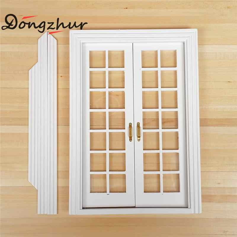 White Color Dollhouse Miniature 1:12 Window Wood Doll House Window Hollow Out DIY Miniature Dollhouse Furniture WWP0162