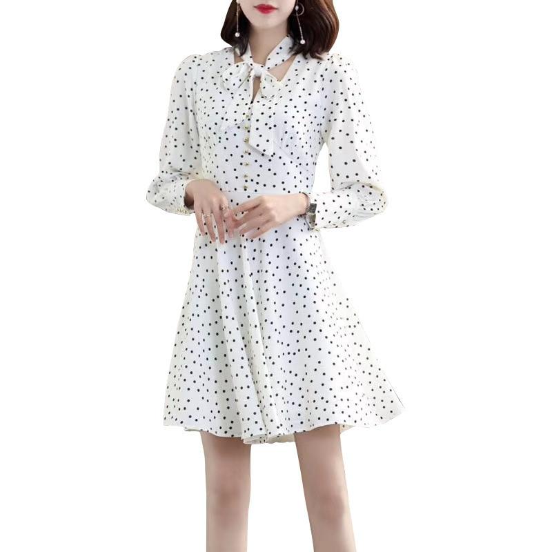 ligne Dot Mode Taille Robe Moulante Impression K557 White Pour Décontracté Mousseline Femelle A Femmes En Produit Femme Mini 2019 Nouveau Haute 7F0ZxZ