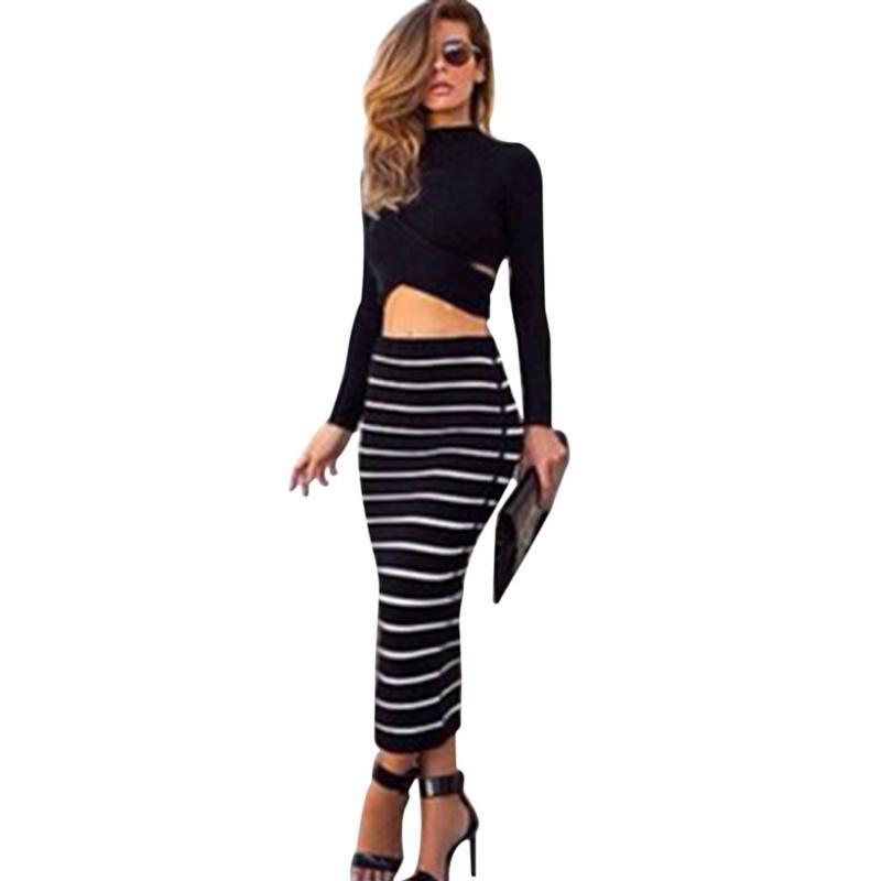 Set (2pcs) Summer Women Dress Suit Long Sleeve Black Crop Top Tees Pencil Midi Skirt Striped Bodycon Dress Club Dress Suit