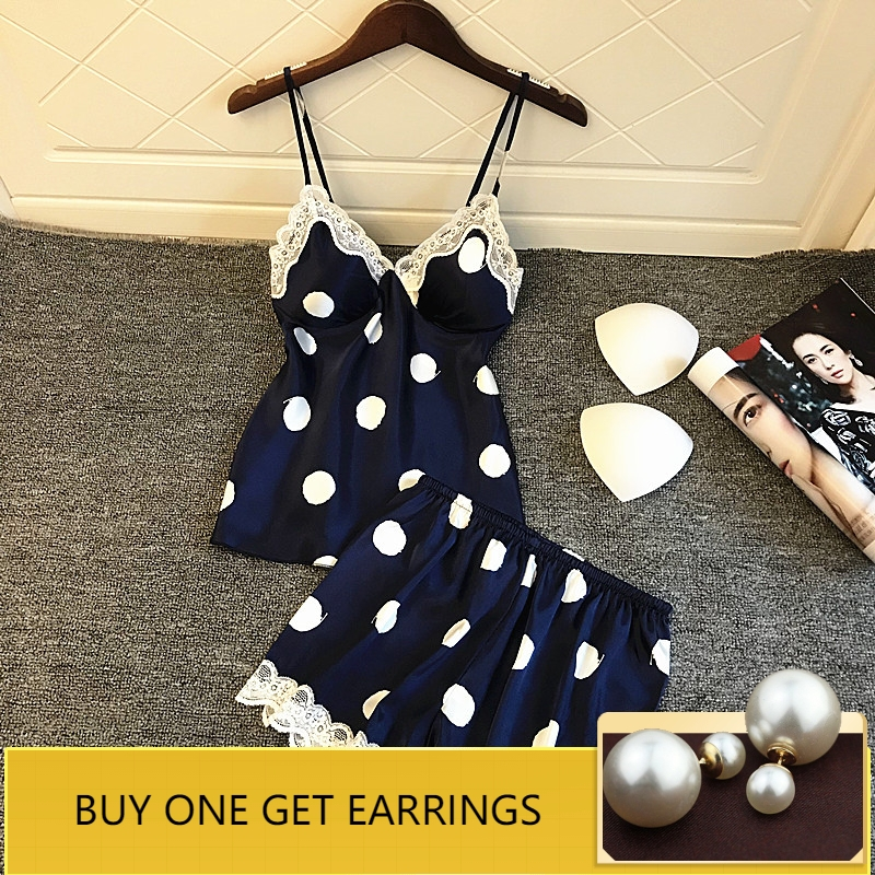QWEEK   Pajamas   for Women Sexy Lace Lingerie Polka Dot Women Sleepwear Cute   Pajama     Set   Casual Pijama V-Neck Pyjama 2 Pieces   Sets