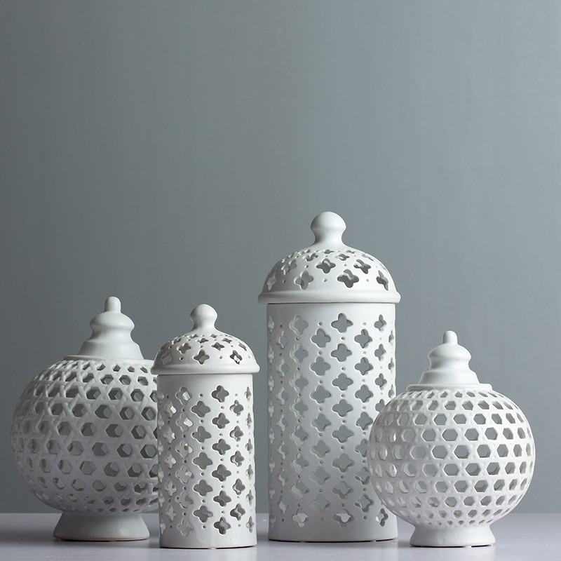 Fait à la main creux cercle Tube stockage réservoir pot blanc en céramique fleur Vase maison bougeoir décoratif accessoires de chambre