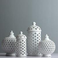 Handmade Hollow Circle Tube Storage Tank Jar White Ceramic Flower Vase Home Decoration Candle Holder Room Accessories