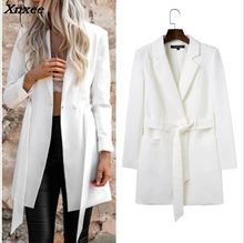 Women long suit blazer with belt office ladies slim formal coat jacket casual outwear female work wear feminino Xnxee