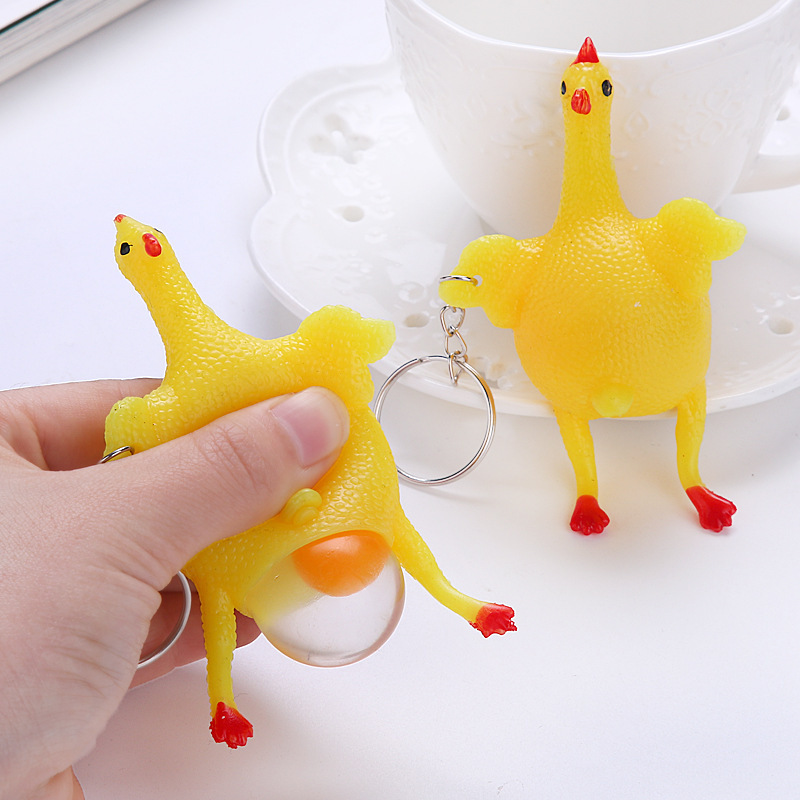 Squeeze Toy Tricky Antistress Chicken Parody Toy Ventilation Hens Eggs Stress Keyring Ball Gadgets Stress Relief Toys Entertain