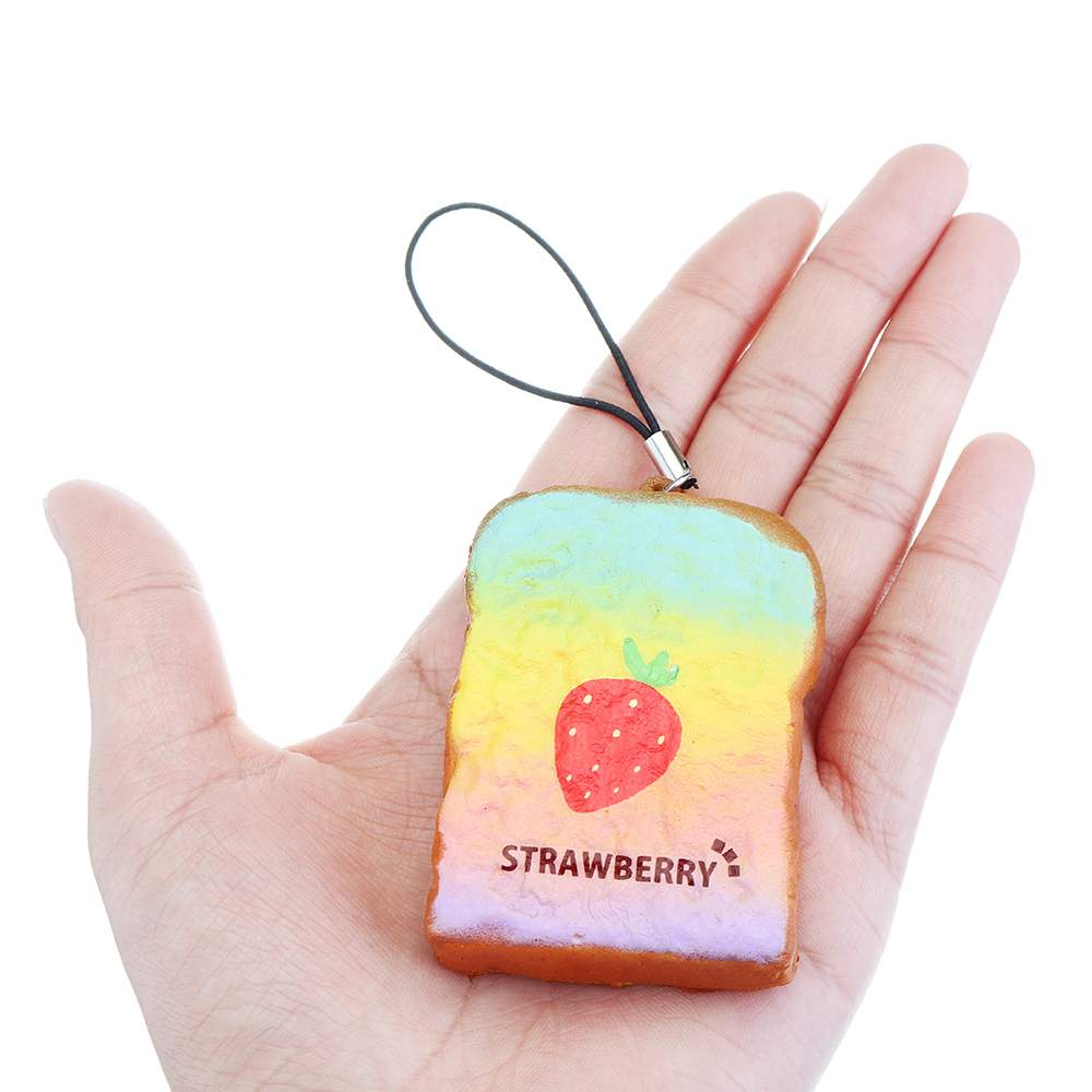 Squishying Rainbow Toast Bread Slices Keychian Slow Rising Gift Decor Squeeze Toys With Packaging Collection For Stress Relief