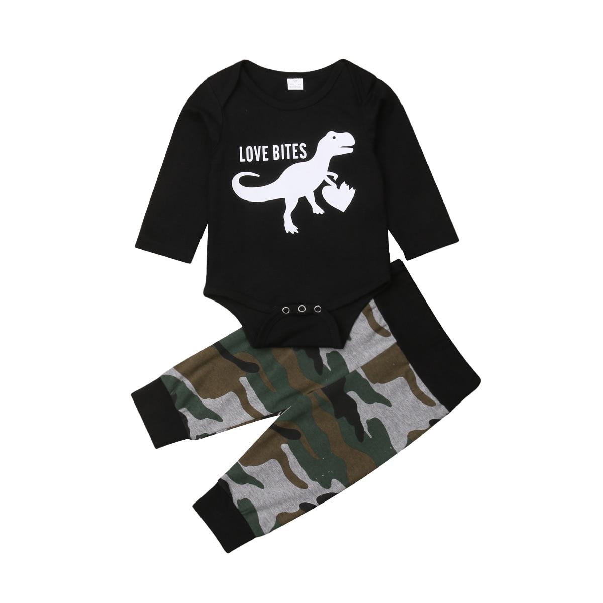 0-12 Mt Neugeborenen Baby Boy Langarm Dinosaurier Strampler Tops + Camouflage Lange Hose 2 Stücke Outfits Jungen Kleidung Set Senility VerzöGern