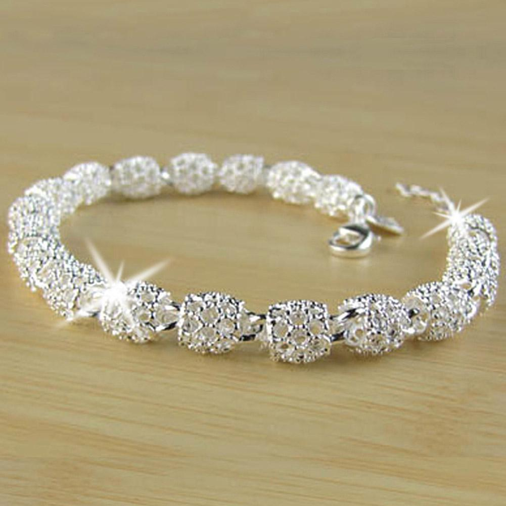 DreamBell Women Bracelet Silver Color Concise Simple Lucky Bead Shinning Bracelet Hand Chain Female Jewelry