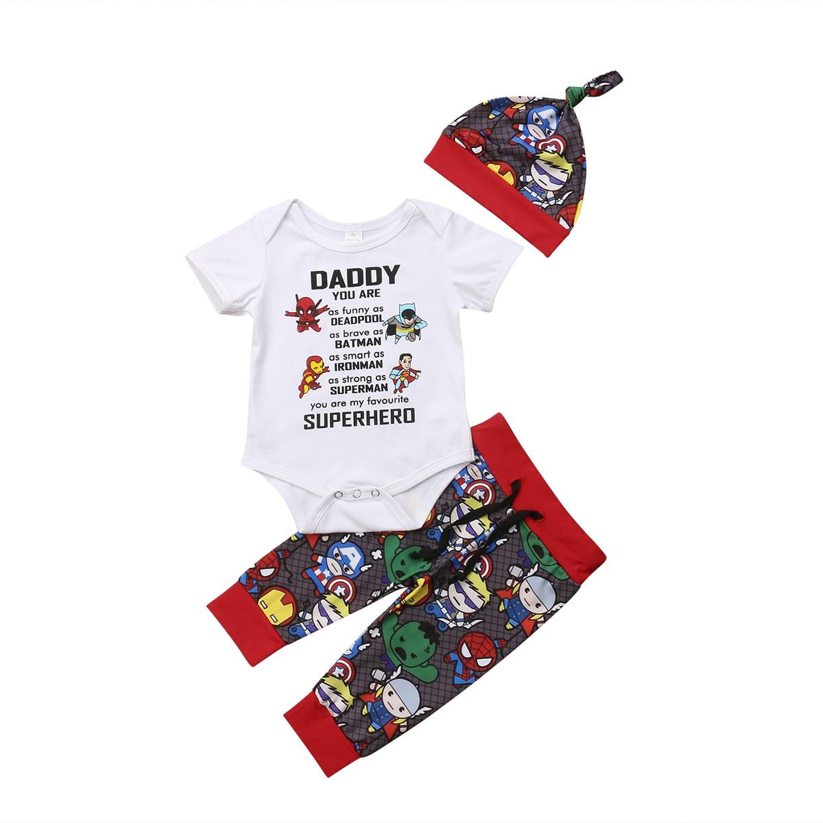 0-24 M Pasgeboren Baby Jongens Meisjes Kleding Set 2019 Nieuwe Avengers Superheld Romper Broek Outfits Set Kleding Groothandel Rijk Aan PoëTische En Picturale Pracht