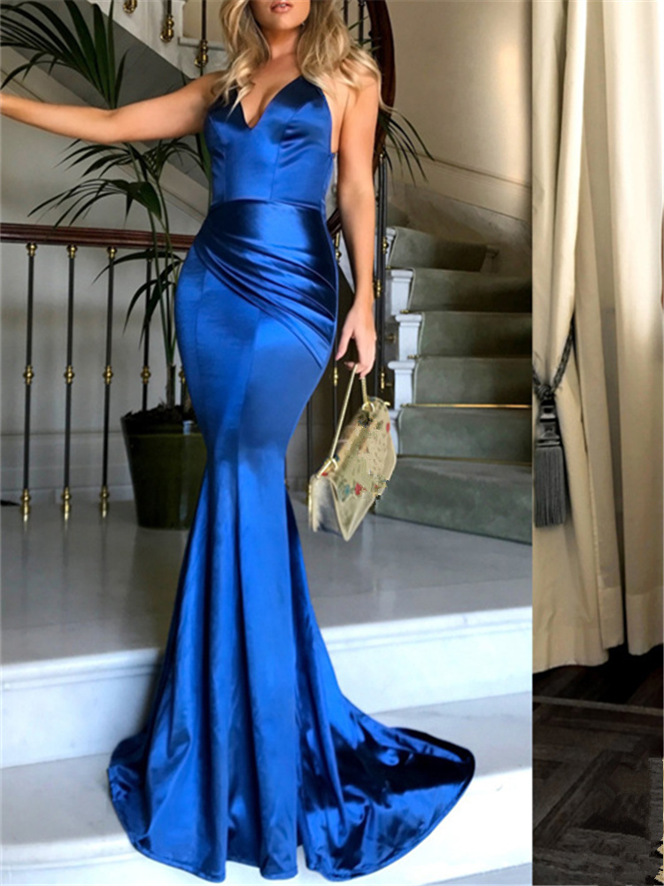 Женское платье Макси Вечерние Элегантные женские Сексуальные Глубокий V Спагетти ремень открытая спина вечернее атласное тонкое классное ...