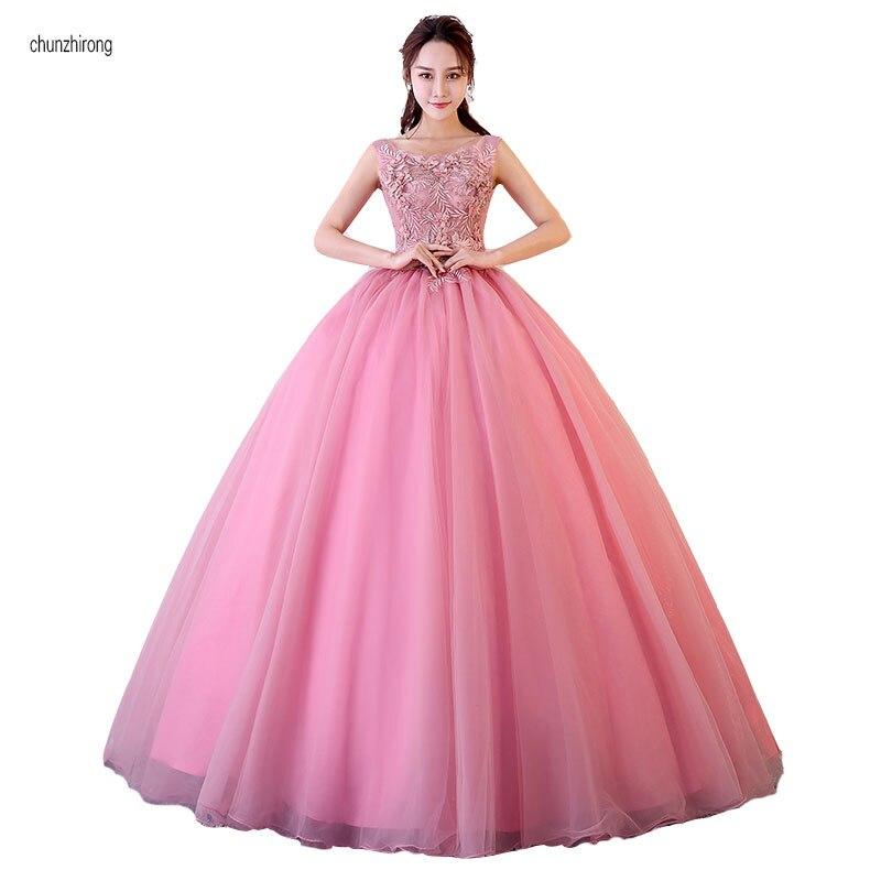 Sexy col bateau Appliques longues robes De bal Tulle perlé princesse robe De bal formelle étage longueur robe De soirée Vestido De Festa