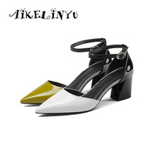 AIKELINYU 2019 Summer New Sandals Sexy High Heels Pumps Quality Cowhide Pointed Toe Comfortable Shoes Women Wedding Sandal