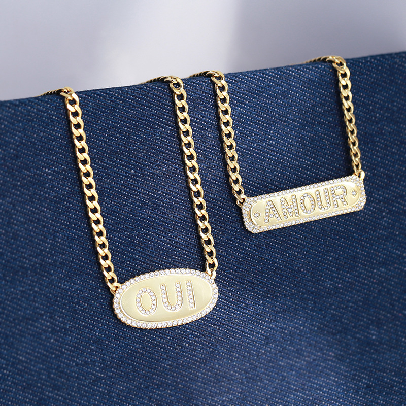 Livraison gratuite 925 argent sterling lettres ovales OUI collier AMOUR collier