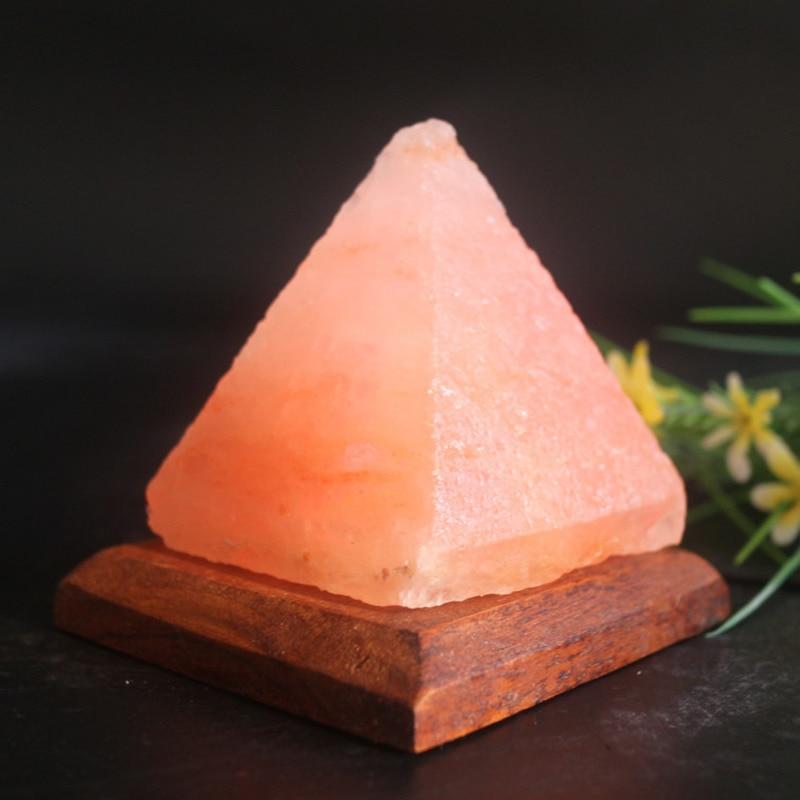 Pyramid Shape Himalayan Salt Lamp USB Crystal Light Air Purifier Colorful Bedside Lamp Children Night Light Relieving Stress