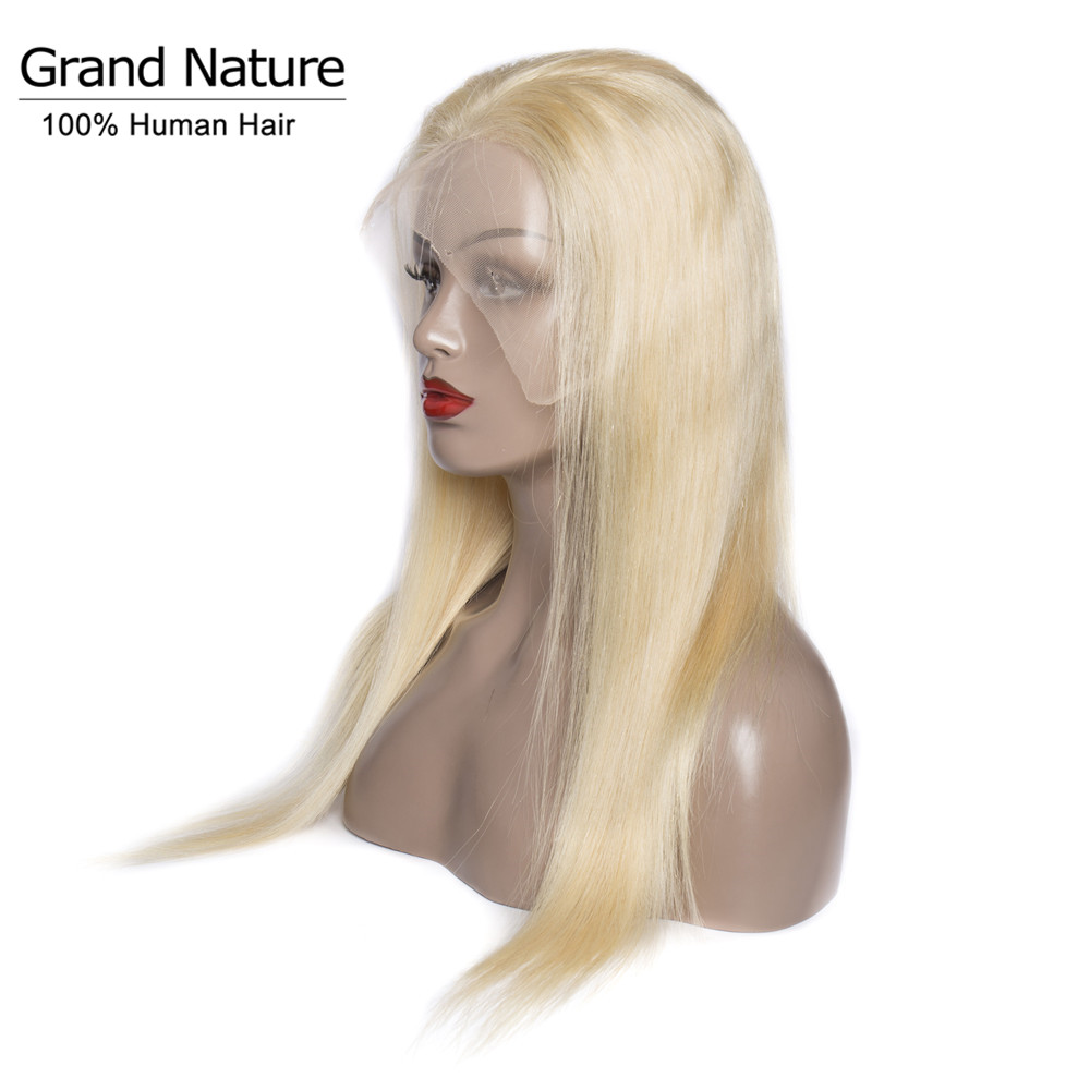 Full Lace Human Hair Wigs 150% Density Remy Hair #613 Light Blonde Peruvian Straight Hair Wig For Women Full And Thick