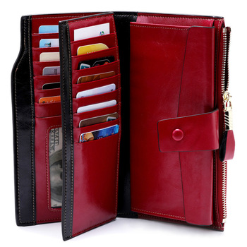 Fashion Genuine Leather Women Wallet Female Cell Phone Pocket Long Women Purses Hasp Oil Wax Leather Lady Coin Purse Card Holder 1