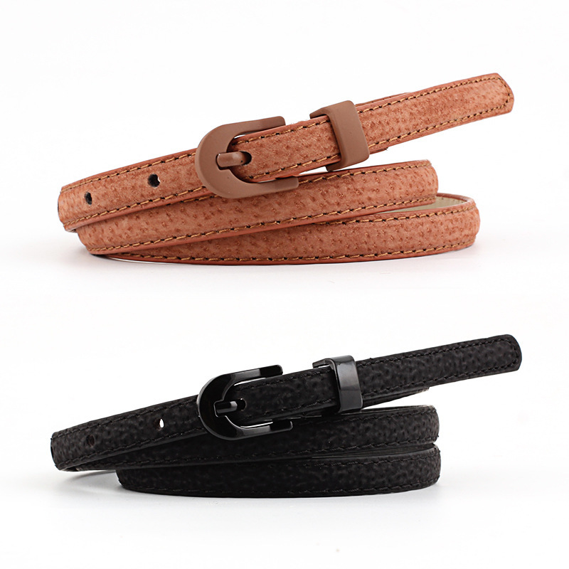 Women Candy Color Thin Belts Lady Pants Dress Waist Leather Belts Metal Pin Buckle Belts Skinny Waistband Brand Belt Pink