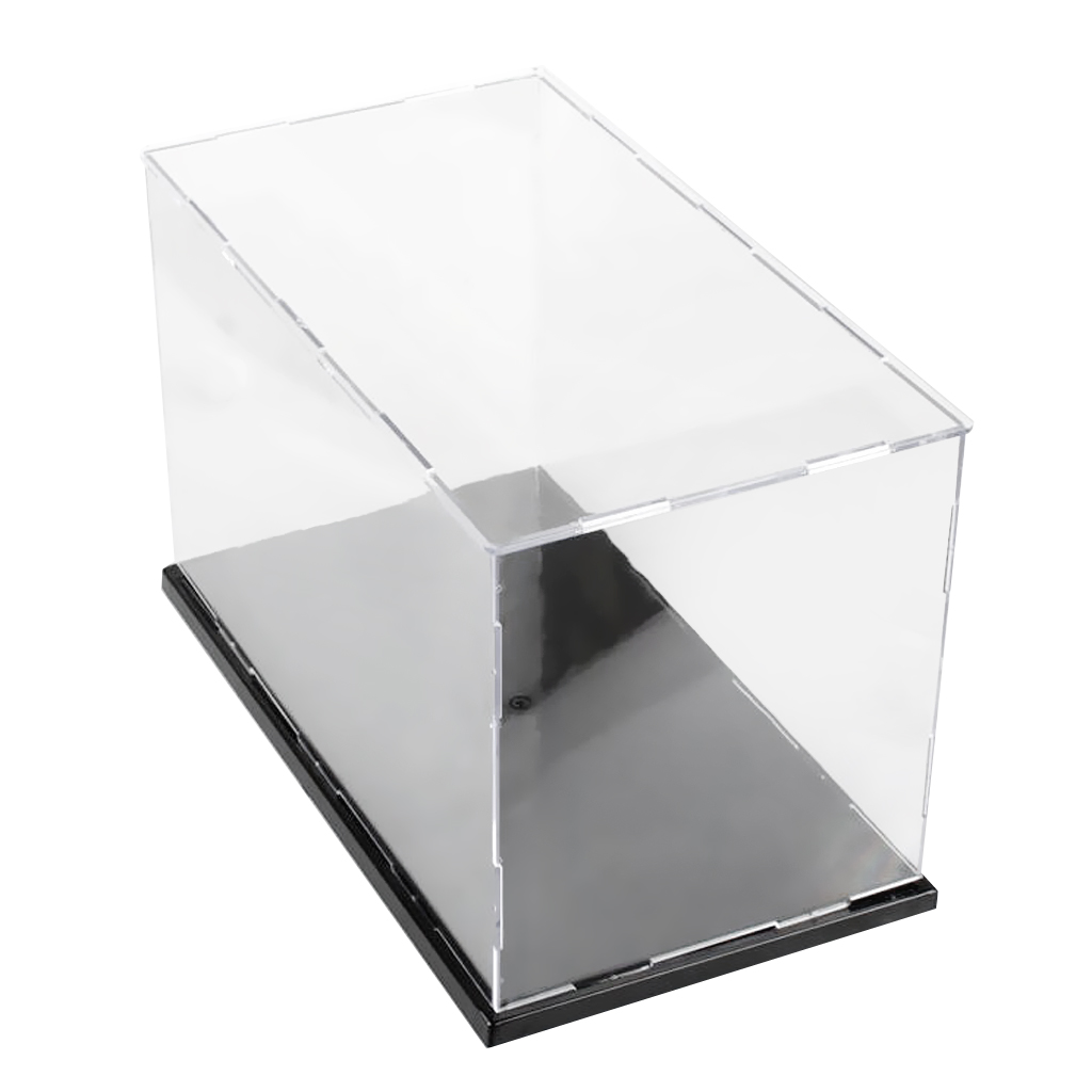 36x16x16cm Acrylic Display Case, Black Gloss Base, Dustproof, Assembled Box 3 steps display case box dustproof showcase gray base acrylic plastic display box case 25 5x15 5x13 8cm 5 colors