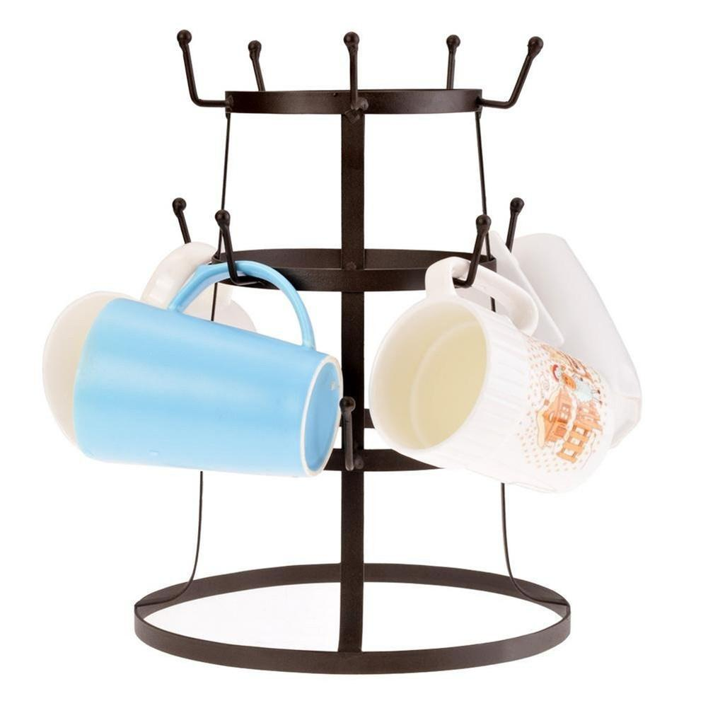Iron Coffee Cup Holder Glass Bottle Organizer Manager Tree Drying Rack Stand Classic And Practical Cup Tissue Tree Cup Organizer