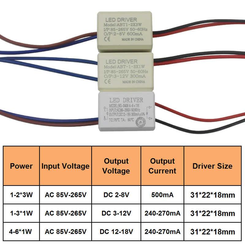 1-2x3W 1-3W 4-6W LED Driver AC85-265V adaptador de unidad de reemplazo de lámpara de pared 240-270mA 500mA transformadores de fuente de alimentación