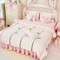Зима принцесса девушка кровать юбка Стиль бархат постельный комплект King queen ПОЛНЫЙ Twin Размеры Корея для свадьбы Home Decor