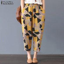 ZANZEA Women Vintage Dot Print Wide Leg Pants Ladies Casual Loose Pockets Harem Trousers Streetwear Pantalon Femme Plus Size 5XL