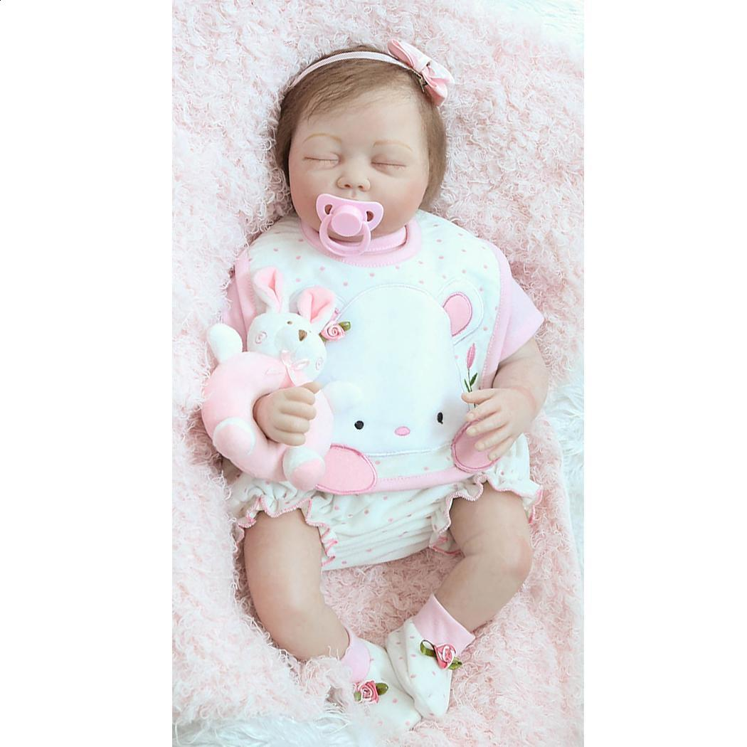 Здесь можно купить  Pink Soft With Eyes Unisex Silicone Baby Collectibles Reborn Closed Gift Clothes Playmate Kids 4Years 2 Realistic Doll  Игрушки и Хобби