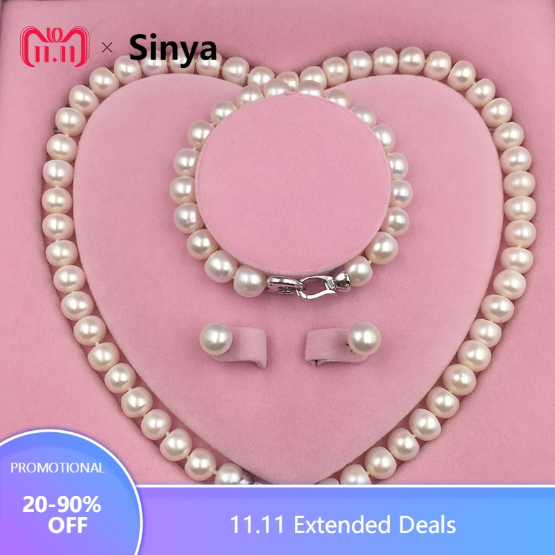 Sinya Natural Freshwater Pearls Strand Necklace Bracelet Earring Set heart design 925 sterling silver clasp for Mum women lover цена и фото