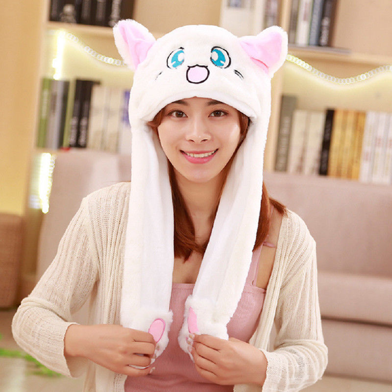 Kawaii Plushed Girls Women Hat Controllable Ears Cute Cartoon Animal Multifunctional Women Warm Hat + Scarf + Claw Glove Set